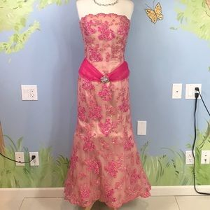 Jovani Pink Floral Strapless Gown Altered
